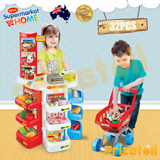 Large Kids Supermarket Pretend Play Set Cash Register Shopping Cart Scanner Toy