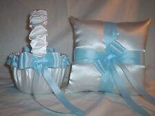 White Satin / Light Blue Trim Flower Girl Basket & Ring Bearer Pillow #1