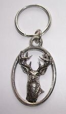WHITE TAILED DEER PEWTER KEY RING,   ideal for Keys, Bags, Collectables. (KA22)