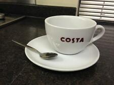 Costa Coffee Large Cup With Handle With Saucer And Spoon 454ml Marked