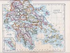 Carte de 1912 ~ grèce ~ corfou ~ cyclades arcadia argolis etc
