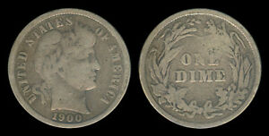 1900 US Barber Dime 10 Cents United States of America Silver Coin
