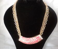 necklace gold colour metal triple chain crystal fuschia statement pendant new