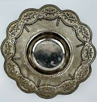 """Silver Plated Bowl Footed Glorious Garland Daisies 11"""" Thick Solid Vintage"""