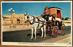 Vintage Postcard KARROZZIN Horse Cab in front of Castille MALTA Sapienza Tuck