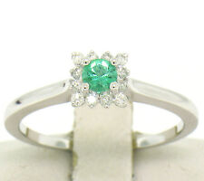 NEW Petite 14k White Gold Round Emerald Solitaire & 12 Diamond Square Halo Ring