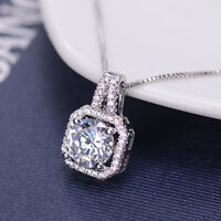 Charm Crystal Square Pendant Statement Women Clavicle Chain Jewelry Necklace