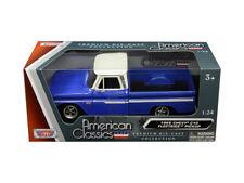 1966 Chevrolet C-10 Fleetside Truck Blue 1/24 Diecast Model By Motor Max 73355