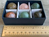 Gemstones Collection, 6 pcs Set Assorted 30mm Gemstone Spheres, Natural Gemstone