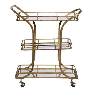 Retro Mid Century Tiered Gold Serving Bar Cart | Mirrored Shelves Rolling Wheels