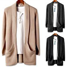 New Mens Shawl Pocket Knit Cardigan Sweater Jumper Blazer Jacket Coat Top E067