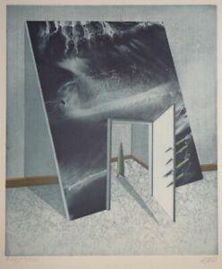 Surreale Komposition Raum Farb-Aquatinta Ebrahim Ehrari Aufl. 300 signiert 1980