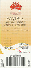 British & Irish Lions v Melbourne Rebels 25 Jun 2013 AAMI Park RUGBY TICKET