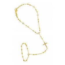 Baciamano placcato oro giallo con croce e applicazioni in zirconi bianchi