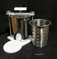 STAINLESS STEEL CHEESE PRESS -  SPRING ASSISTED - W/ SS SOFT CHEESE MOLD
