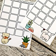 Cute cats two page journal calendar, Month at a glance, Bullet calendar, Blank