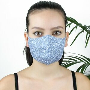 FACE MASK MOUTH COVER HANDMADE COTTON 3 LAYERS ADJUSTABLE EAR WASHABLE REUSABLE