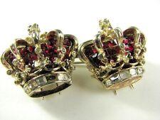 Coro Craft Vintage Ruby Rhinestone Crown Jewel Golden Jubilee Duette Fur Clip