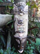 Bali carved Mask with Sand & Shell  x 30cm - Bird & Owl Design - wall hanging