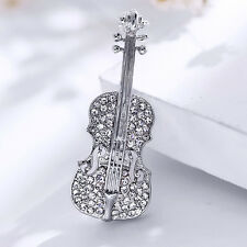 Fashion Pins Love Lapel Pin Gold Plated Crystal Violin Scarf Brooches for Women