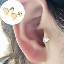 2X Heart Ear Bar Earrings Ring Stud Piercing Surgical Steel Labret Lip Bars