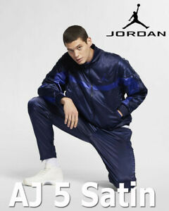 MEN'S NIKE X AIR JORDAN SPORTSWEAR AJ5 SATIN JACKET F/Z BLUE AR3130-416 LARGE