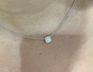 Princess Cut Diamond Set in Cushion Shaped Diamond Halo Pendant