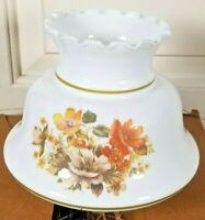 "Vintage 6.5"" Milk Glass Hurricane Crimp Top Lamp Shade Floral Thomas 1.75 Fitter"
