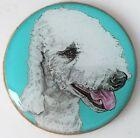 Bedlington Terrier Dog Original Art Brooch Pin