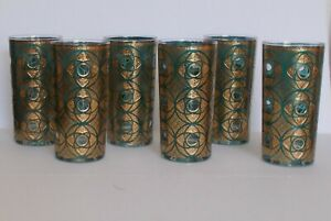 Vintage Culver Terrazzo Highball Glasses Glassware Gold Turquoise - Set of 6