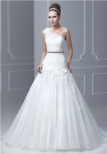 Ball Gown  Princess Wedding Dress Blu by Enzoani Style Floro one Shoulder Tulle