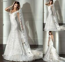 Lace White Ivory Mermaid Bridal Gown Backless Sheath Wedding Dress Custom Made
