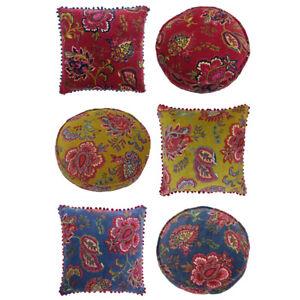Riva Paoletti Malisa Paisley Indian Faux Velvet Pom Pom Fringed Cushion Cover