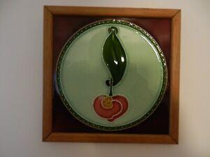 Antique Art Nouveau Framed Colourful Orchid Flower Ceramic Tile A.M. Ltd England