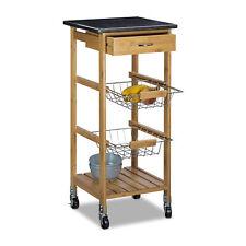Küchenwagen Bambus Küchentrolley Küchenrollwagen Servierwagen Rollwagen Marmor