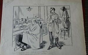 RUDOLF PLACEK ILLUSTRATEUR TCHEQUE Assiette au Beurre-Chez le coiffeur-daté 1915