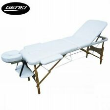 NEW White Wooden Foldable Portable 3-Section Massage Table Chair Bed -Carry Bag