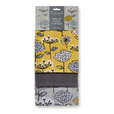 Cooksmart 3 Pack Tea Towels, Retro Meadow Kitchen Dish Cloths Floral Yellow Grey