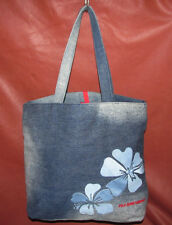 Ralph Lauren Polo Jeans Co Distressed Blue Denim Hibiscus Shopper Tote Worn Once