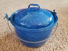 "Vintage Blue Speckled Enamel Cookware 8"" Dutch Oven / Stock Pot 5 1/2"" Deep"