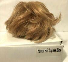 HUMAN HAIR CAPLESS ADJUSTABLE WIG SHORT BLOND
