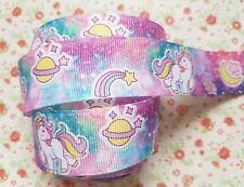 1 M X Super Cosmic Baby Unicornio Cinta del Grosgrain Artesanía Cabello Moño Pastel 25 mm Reino Unido