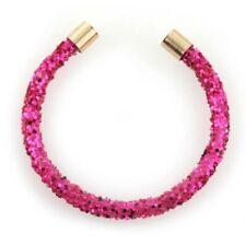 Hot Flamingo Pink Crushed Metallic Crystal Dust Mix Open Cuff Gold Cap Bracelet