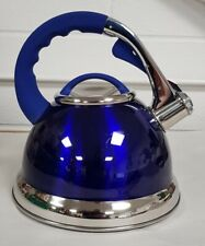 Whistling Kettle Stainless Steel Gas 3.5 Litre Metallic Blue and Electric Hobs