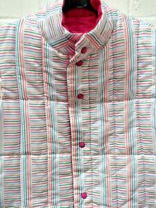 Original Vintage Puffa Branding White Multi Stripe Snap Gilet Jacket Large #CF