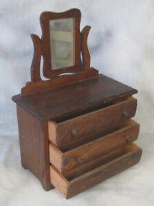 Salesman Sample Oak Bureau & Mirror Converse Co 1905 Pattent Made in MA Doll