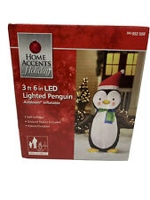 "Home Accents Holiday 3' 6"" LED Lighted Inflatable Penguin Lawn Display"