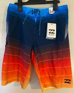 New Billabong Fluid X Platinum X Stretch Boardshorts Surf Surfing 28 Sunburst