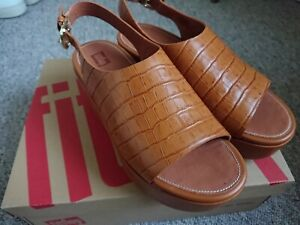 Fitflops Strap back Sandals Tan Shoes Leather UK 6