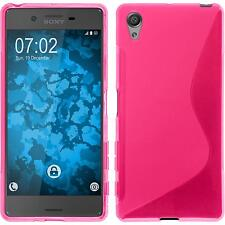Silicone Case for Sony Xperia X S-Style hot pink + protective foils